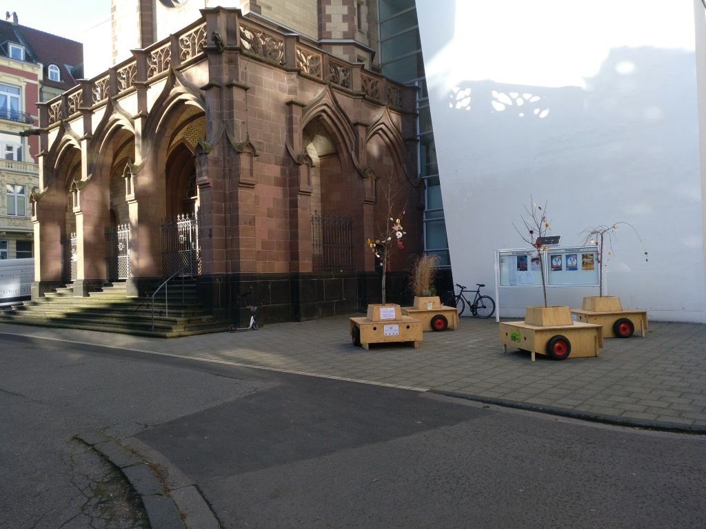 Die Wanderbaumallee vor der Christuskirche im Belgischen Viertel.
