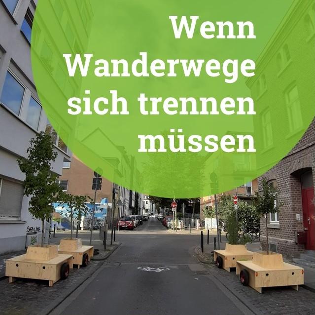 """Bild der Wanderbaumallee-Module. Darüber ein grüner Kreis mit dem Schriftzug """"Wenn Wanderwege sich trennen müssen"""""""