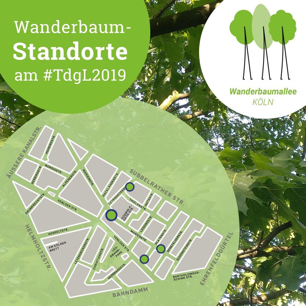 Ausschnitt aus einem Plan mit 4 Standorten der Wanderbaumallee am Tag des guten Lebens. Hashtag #TdgL2019