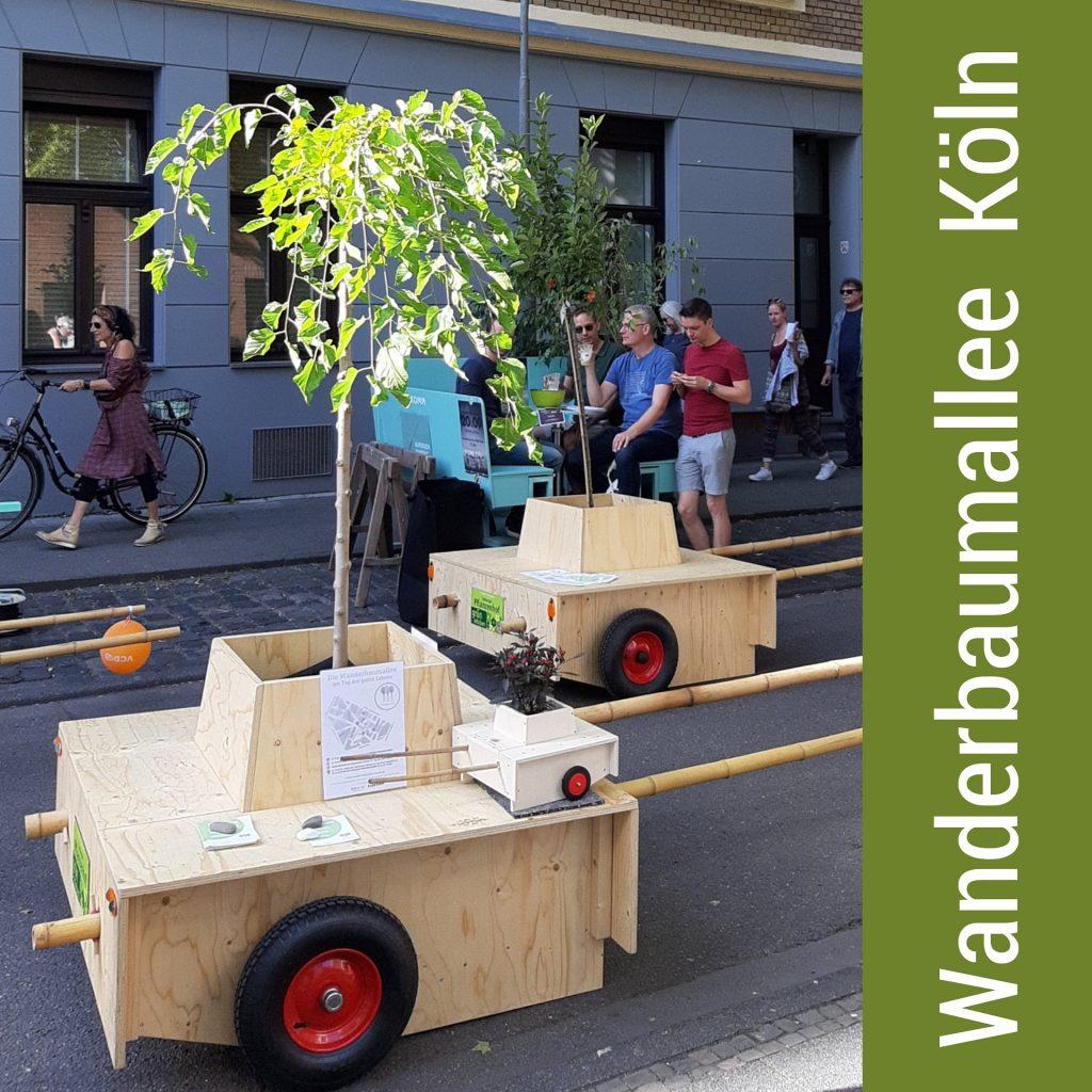 Zwei Wanderbaum-Module mit Schiebestangen und Bäumen. Auf einem Modul steht ein kleines Modell der Wanderbaum-Module.